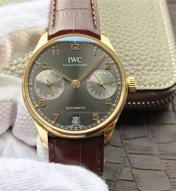 ZF Portuguese IW5001 YG Gray Dial Leather Strap