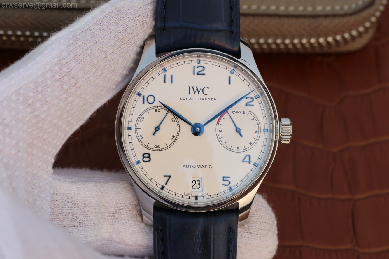ZF Portuguese IW500705 White Dial Blue Markers Leather Strap