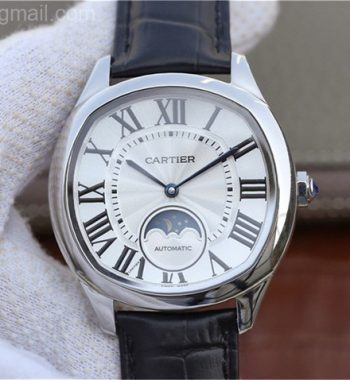 Drive de Cartier SS White Textured Dial Leather Strap A9015