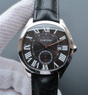 Drive de Cartier SS Black Textured Dial Black Leather Strap A23J