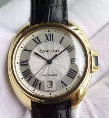 Cle de Cartier YG White Textured Dial Leather Strap MIYOTA9015