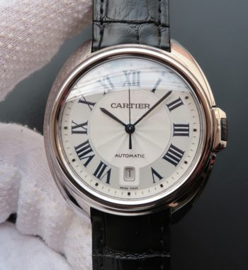 Cle de Cartier SS White Textured Dial Leather Strap MIYOTA9015