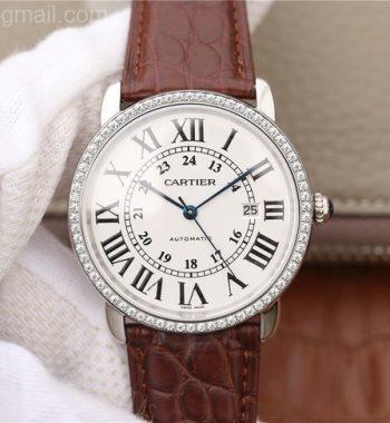 Ronde De Cartier SS White Dial Diamonds Bezel Croco Strap A2892