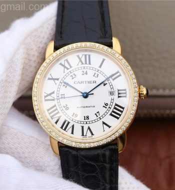 Ronde De Cartier YG White Dial Diamonds Bezel Croco Strap A2892