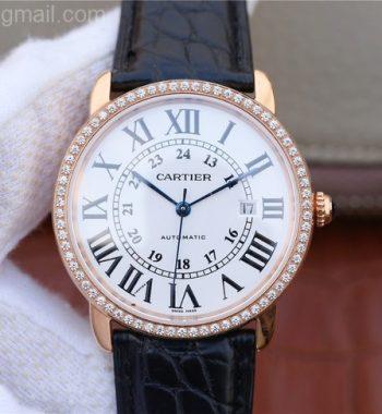 Ronde De Cartier RG White Dial Diamonds Bezel Croco Strap A2892