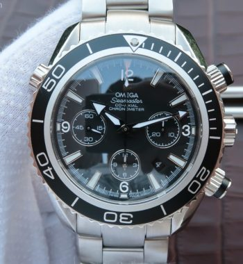 Seamaster Planet Ocean Chrono 45mm Black Dial Silver Markers SS Bracelet A7750