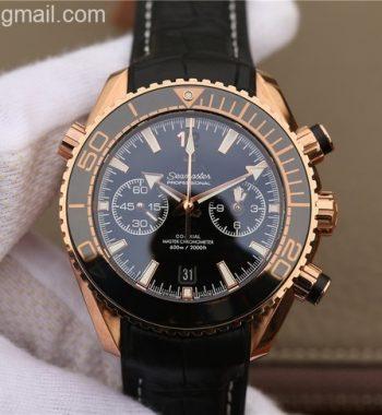 OMF Planet Ocean Master Chronometer RG Black Polished Bezel Black Dial Leather A9901