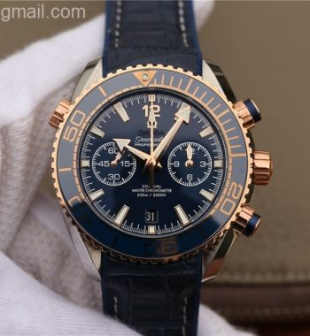 OMF Planet Ocean Master Chronometer SS/RG Blue Bezel Blue Dial Leather Strap A9901