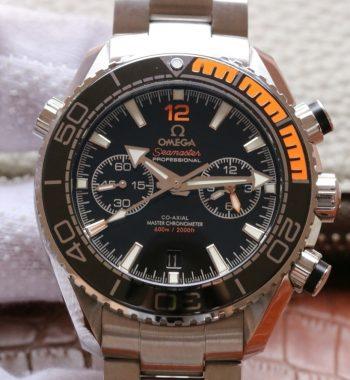 OMF Planet Ocean Master Chronometer Black/Orange Bezel Black Dial SS Bracelet A9900