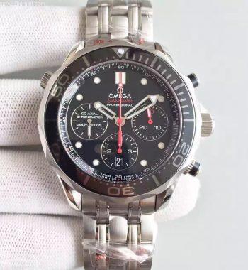Seamaster 300m Diver Black Dial Black Inner Bezel SS Bracelet A7753