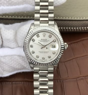DateJust 28mm Fluted Bezel White Dial Diamonds Markers Bracelet A2236