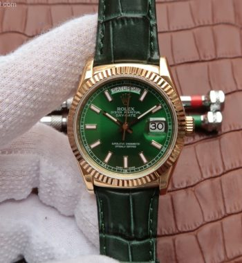 Day-Date 118138 YG Green Dial Green Leather Strap A2836