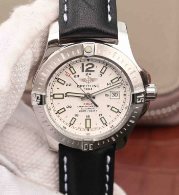 Colt Automatic 44mm SS GF White Textured Dial on Black Leather Strap A2824
