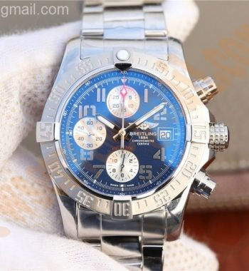 Avenger II Chronograph 43mm SS GF Blue/White Dial SS Bracelet A7750
