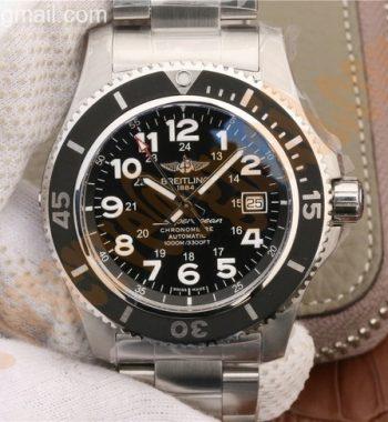 SuperOcean II 44mm GF Black Dial on SS Bracelet A2824