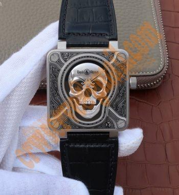 BR01 Burning Skull Tattoo Watch Silver Dial Black Leather Strap MIYOTA 9015