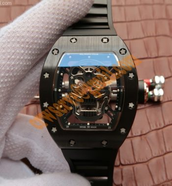 RM 052 Skull Watch Black Ceramic Skeleton Dial Black Rubber Strap 6T51