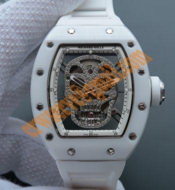 RM052 White Ceramic Diamonds Skull Dial White Rubber Strap MIYOTA8215