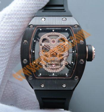 RM052 Black Ceramic Full Paved Diamonds Skull Dial Black Rubber Strap MIYOTA8215