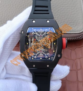 RM027 PVD Skeleton Dial Black Rubber Strap 6T51