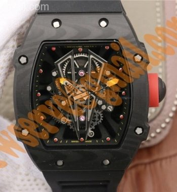 RM027-03 Full Black Carbon Skeleton Dial Black Rubber Strap 6T51
