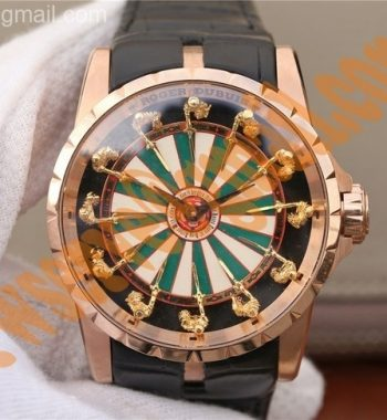 Excalibur Knights of the Round Table II RG Checkerboard Dial Leather Strap MIYOTA 6T15