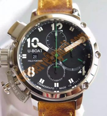 U-51 Chimera Watch Limited Edition Black Dial White Hands Light Brown Leather Strap A7750