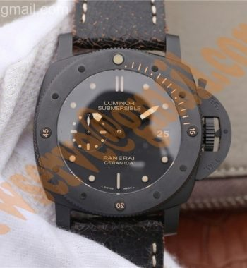 PAM508 VSF Real Ceramic Black Distressed Calfskin Strap P.9000