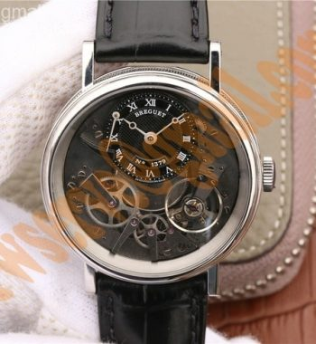 Tradition 7057BB/G9/9W6 SS SF Black Skeleton Dial Black Leather Strap A507