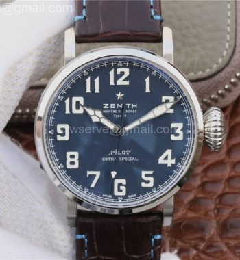 Pilot Type 20 Extra 45mm SS Case Blue Dial Leather Strap A2824