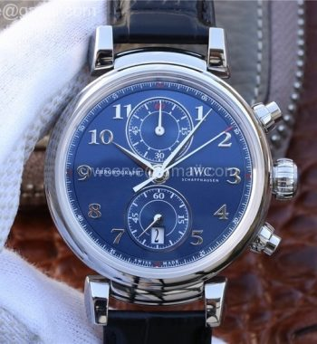 ZF Da Vinci Chrono Laureus IW393402 SS Blue Dial SS Black Leather Strap A7750