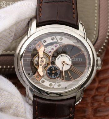 Millennium Series 15350 SS V9F Skeleton Gray/White Dial Dark Brown Leather Strap A4101