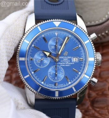 Superocean Heritage ii Chrono 46mm SS OMF Blue Bezel Blue Dial Blue Rubber Strap A7750