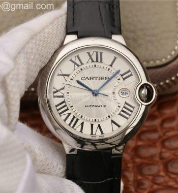 Cartier Ballon Bleu 42mm SS CRF White Textured Dial Leather Strap A2824