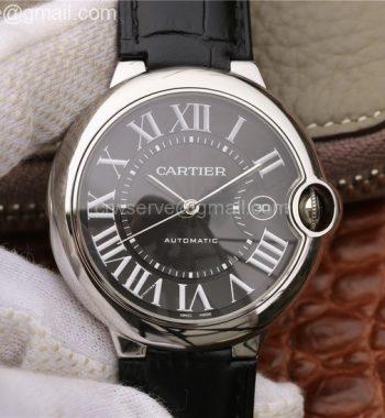 Cartier Ballon Bleu 42mm SS CRF Black Textured Dial Leather Strap A2824