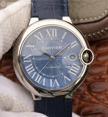 Cartier Ballon Bleu 42mm SS CRF Blue Textured Dial Leather Strap A2824