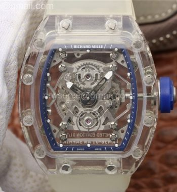 RM056 Transparent Case Blue Bezel Skeleton Dial White Rubber Strap MIYOTA 9015
