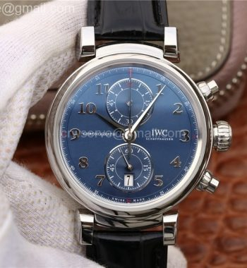 Da Vinci Chrono Laureus IW393402 SS YLF Blue Dial Black Leather Strap A7750