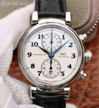 Da Vinci Chrono IW3934 SS YLF White Dial Blue Markers Black Leather Strap A7750