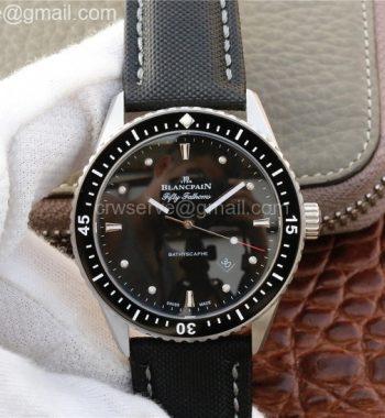 Blancpain Fifty Fathoms Bathyscaphe SS Black Dial Black Sail-Canvas Strap A1315