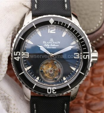 Fifty Fathoms Tourbillon SS ZF Black Dial Sail-canvas Strap