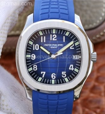 Aquanaut 5168 PF SS Blue Textured Dial Blue Rubber Strap A324 Clone