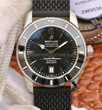 SuperOcean Heritage ii 42mm SS OMF Black Dial Black Bezel Black Rubber Strap A2824