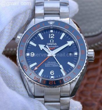 Planet Ocean 600M Co-Axial GMT 43.5mm VSF Blue Dial Blue Ceramic Bezel SS Bracelet A8605 Super Clone