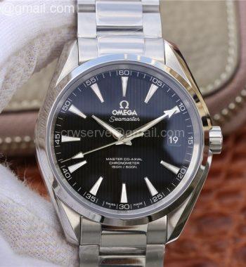 Aqua Terra 150M SS VSF Black Textured Dial Silver Markers SS Bracelet A8500