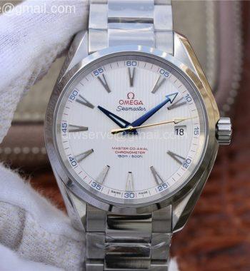 Aqua Terra 150M SS VSF White Textured Dial Blue Hands SS Bracelet A8500