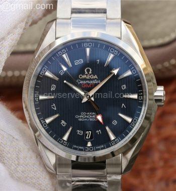Aqua Terra 150M 43.5mm GMT SS VSF Blue Textured Dial SS Bracelet A8605 V2