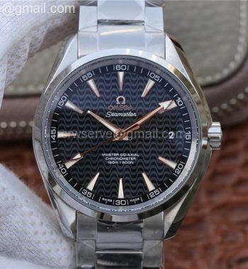 Aqua Terra 150M SS VSF Black Wave Textured Dial RG Hand SS Bracelet A8500