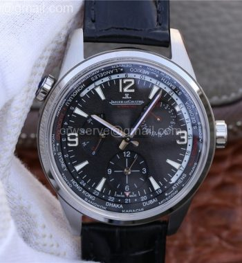 Polaris Geographic WT SS Black Textured Dial Black Leather Strap A936