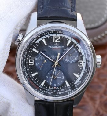 Polaris Geographic WT SS Blue Textured Dial Black Leather Strap A936
